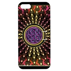 Hot Lavender Celtic Fractal Framed Mandala Apple Iphone 5 Hardshell Case With Stand