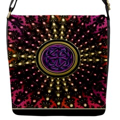 Hot Lavender Celtic Fractal Framed Mandala Flap Closure Messenger Bag (Small)