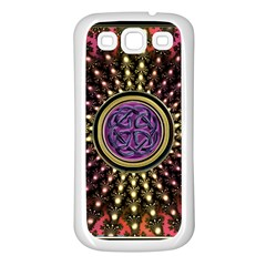 Hot Lavender Celtic Fractal Framed Mandala Samsung Galaxy S3 Back Case (White)