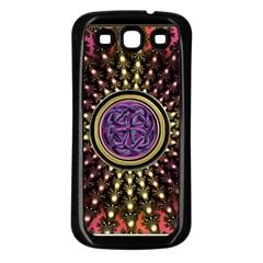 Hot Lavender Celtic Fractal Framed Mandala Samsung Galaxy S3 Back Case (Black)