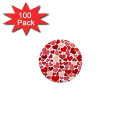 Pretty Hearts  1  Mini Button Magnet (100 pack)