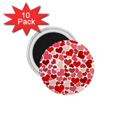 Pretty Hearts  1 75  Button Magnet (10 Pack)