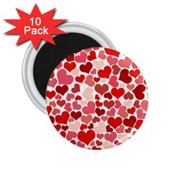 Pretty Hearts  2 25  Button Magnet (10 Pack)