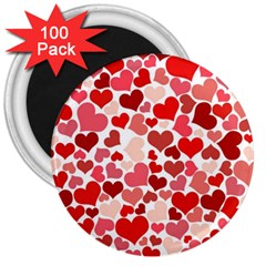 Pretty Hearts  3  Button Magnet (100 pack)