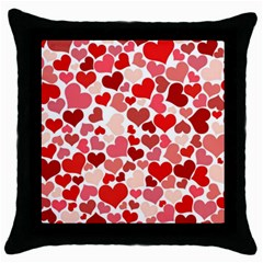 Pretty Hearts  Black Throw Pillow Case