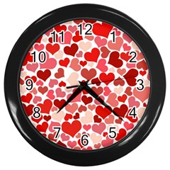 Pretty Hearts  Wall Clock (Black)