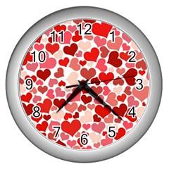 Pretty Hearts  Wall Clock (silver)