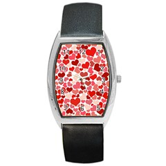 Pretty Hearts  Tonneau Leather Watch