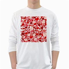 Pretty Hearts  Men s Long Sleeve T-shirt (White)
