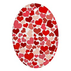 Pretty Hearts  Oval Ornament (Two Sides)