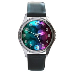 Deep Bubble Art Round Leather Watch (silver Rim)