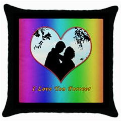 I Love You Forever Black Throw Pillow Case