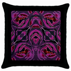 Spreading Rose Black Throw Pillow Case
