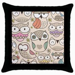 Owl pattern Black Throw Pillow Case