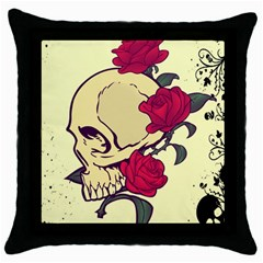 Death Skeleton Black Throw Pillow Case