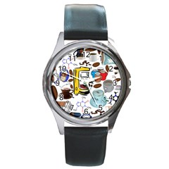 Just Bring Me Coffee Round Leather Watch (silver Rim)