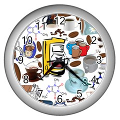 Just Bring Me Coffee Wall Clock (Silver)