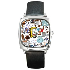 Just Bring Me Coffee Square Leather Watch