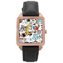 Just Bring Me Coffee Rose Gold Leather Watch