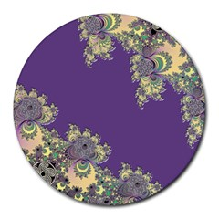 Purple Symbolic Fractal 8  Mouse Pad (Round)