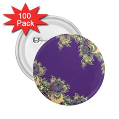 Purple Symbolic Fractal 2 25  Button (100 Pack)