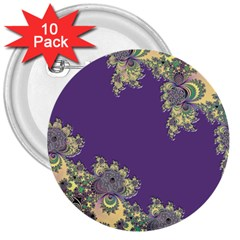 Purple Symbolic Fractal 3  Button (10 pack)