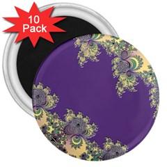 Purple Symbolic Fractal 3  Button Magnet (10 pack)