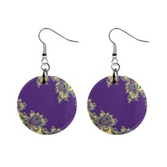 Purple Symbolic Fractal Mini Button Earrings