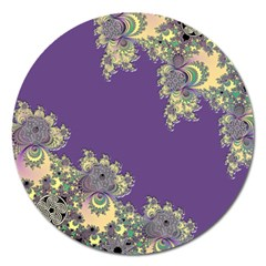 Purple Symbolic Fractal Magnet 5  (Round)