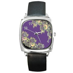 Purple Symbolic Fractal Square Leather Watch