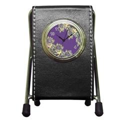Purple Symbolic Fractal Stationery Holder Clock