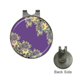 Purple Symbolic Fractal Hat Clip with Golf Ball Marker
