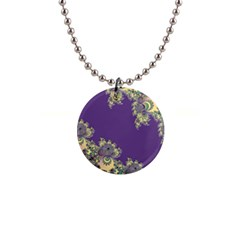Purple Symbolic Fractal Button Necklace