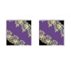 Purple Symbolic Fractal Cufflinks (Square)