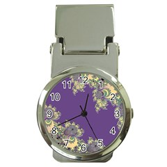 Purple Symbolic Fractal Money Clip with Watch