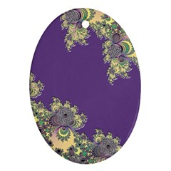 Purple Symbolic Fractal Oval Ornament (Two Sides)