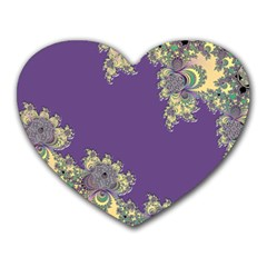 Purple Symbolic Fractal Mouse Pad (Heart)
