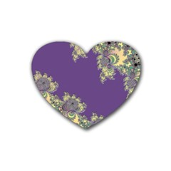 Purple Symbolic Fractal Drink Coasters 4 Pack (Heart)