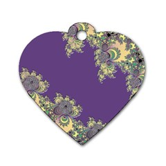 Purple Symbolic Fractal Dog Tag Heart (Two Sided)