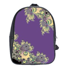 Purple Symbolic Fractal School Bag (Large)