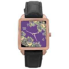 Purple Symbolic Fractal Rose Gold Leather Watch