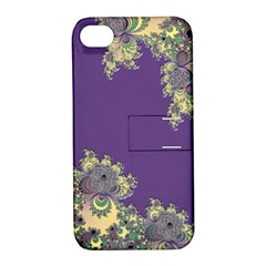 Purple Symbolic Fractal Apple iPhone 4/4S Hardshell Case with Stand