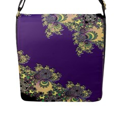 Purple Symbolic Fractal Flap Closure Messenger Bag (Large)