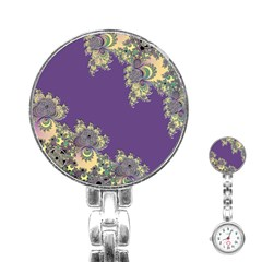 Purple Symbolic Fractal Stainless Steel Nurses Watch
