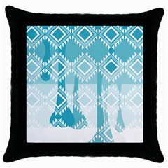 Water Color Knitted Black Throw Pillow Case