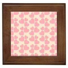 Cream And Salmon Hearts Framed Ceramic Tile