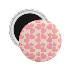 Cream And Salmon Hearts 2.25  Button Magnet