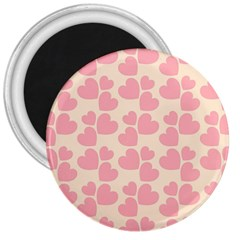 Cream And Salmon Hearts 3  Button Magnet