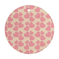 Cream And Salmon Hearts Round Ornament