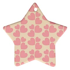 Cream And Salmon Hearts Star Ornament